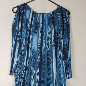 DANA BUCHMAN TOP Blue Stripes Leopard Size S V26